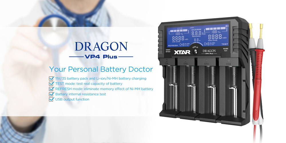 XTAR VP4 PLUS DRAGON battery doctor banner