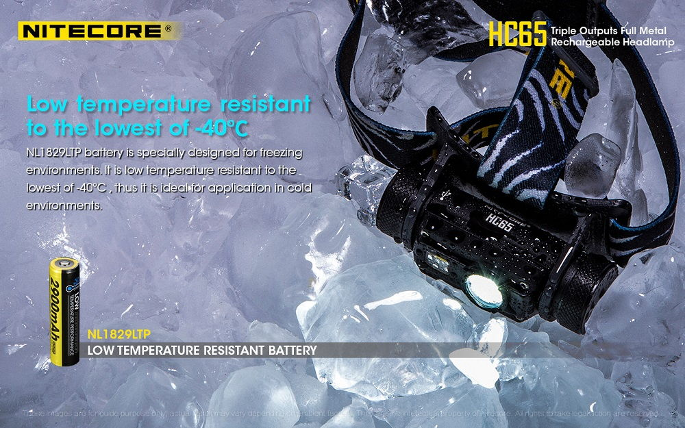 Nitecore HC65 low temperature banner