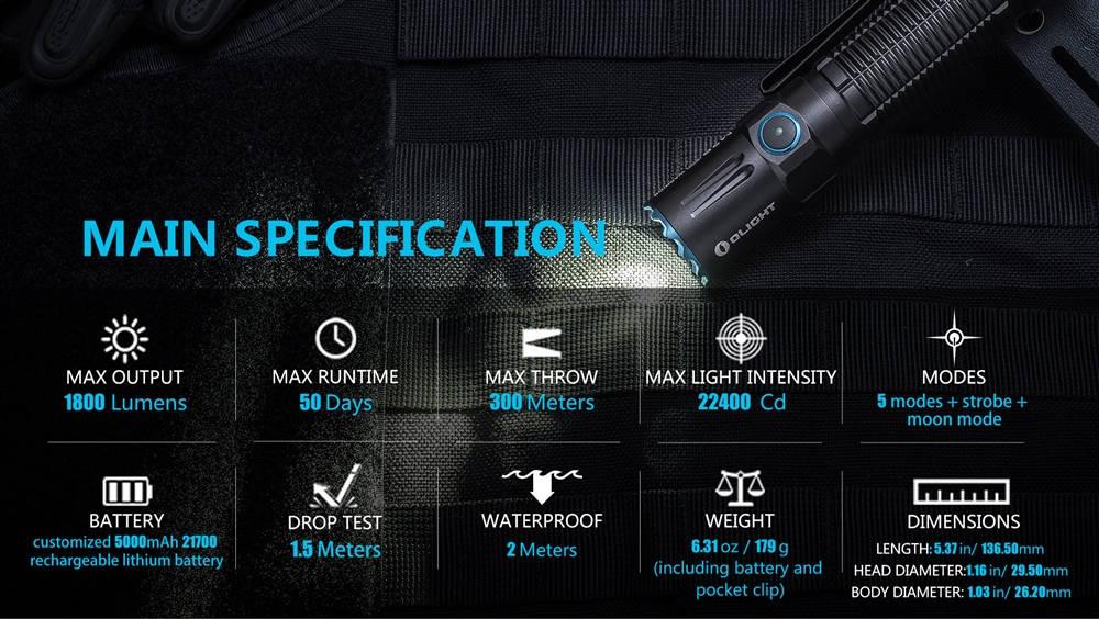 Olight M2R Pro Warrior specification banner